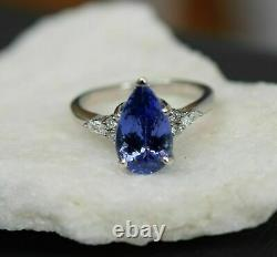 2Ct Pear Cut Blue Sapphire Solitaire Women's Engagement Ring 14K White Gold Over
