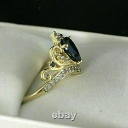 2Ct Pear Cut Blue Sapphire With Diamond Engagement Crown Ring 14k Yellow Gold Fn