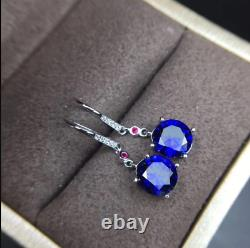 2Ct Round Cut Blue Sapphire Drop & Dangle Earrings Solid 14K White Gold Over