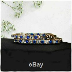 2Ct Round Gorgeous Cut Blue Sapphire Diamond Hoop Earrings 14K Rose Gold Over