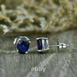 3.00 Ct Oval Cut Blue Sapphire Solitaire Women Stud Earrings 14k White Gold Over