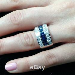 3.00Ct Blue Sapphire and Diamond Engagement Wedding Band Ring 14k White Gold