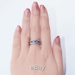 3.00ct Blue Sapphire and Diamond Anniversary Wedding Band 14k Solid White Gold