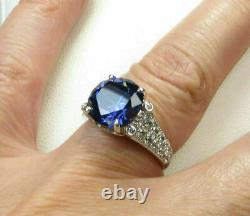 3.25Ct Round Cut Blue Sapphire Solitaire Engagement Ring 14K White Gold Finish