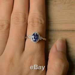 3.35 Ct Oval Cut Blue Sapphire Diamond Halo Engagement Ring 14K White Gold Over