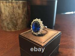 3.48 Carat Real Diamond Blue Diana Sapphire Ring 14K Solid White Gold Size 5 6 7