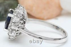 3.78 Carat Natural Sapphire 14K Solid White Gold Diamond Ring