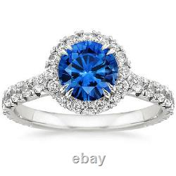 3.98ct Blue Sapphire Diamond Engagement Ring Wedding Band Solid 14k White Gold