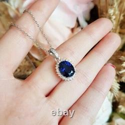 3 Ct Oval Blue Sapphire Diamond Pendant Necklace With Chain 14k White Gold Over