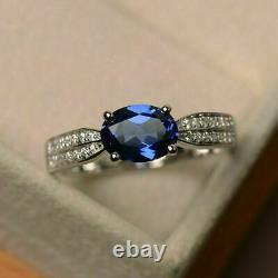 3 Ct Oval Cut Blue Sapphire Diamond Engagement Wedding Ring 14K White Gold Over