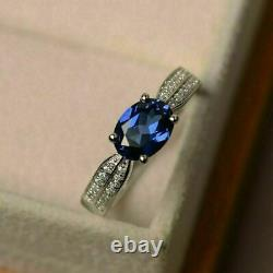 3 Ct Oval Cut Blue Sapphire Diamond Engagement Wedding Rings 14K White Gold Over