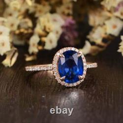 3CT Oval Cut Blue Sapphire Diamond Halo Engagement Ring in 14K Rose Gold Finish