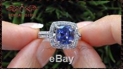 3Ct Cushion-Cut Blue Sapphire Diamond Halo Engagement Ring 10k Real White Gold