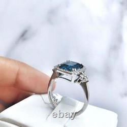 3Ct Delicate Emerald Cut Blue Sapphire Halo Engagement Ring 14K White Gold Over