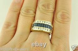 4.00 ct 14k Solid Yellow Gold Men's Natural Diamond Baguette Blue Sapphire Ring