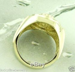 4.00 ct 14k Solid Yellow Gold Mens Natural Diamond & Oval Blue Sapphire Ring USA