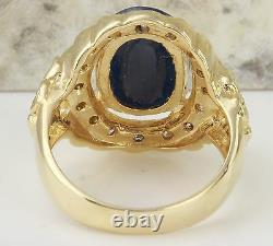 5.50Ct Natural Blue Sapphire & Diamond 14K Yellow Solid Gold Ring