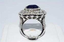 $60,000 7.65ct Agl Certified Natural Sapphire & Diamond Heart Ring Great Color