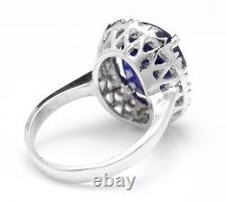 8.35 Carats Natural Sapphire and DIAMOND 14K Solid White Gold Ring