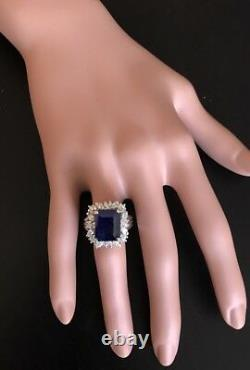 9.30Ct Natural Blue Sapphire & Diamond 14K White Solid Gold Ring