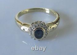 9ct Gold Ring 9ct Yellow Gold Sapphire & Diamond Oval Cluster Ring Size P 1/2