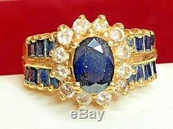 Antique 14k Gold Blue Sapphire & Diamond Ring Halo Engagement