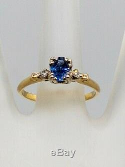 Antique 1940s $2400 1ct Natural Blue Sapphire Diamond 14k Yellow Gold Ring