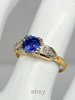 Antique 1940s $3000 1.30ct Natural BLUE Sapphire Diamond 14k Yellow Gold Ring