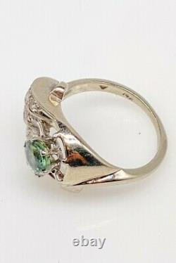 Antique 1940s $3000 2ct Natural Blue Green Sapphire Diamond 14k White Gold Ring