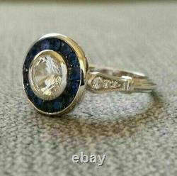 Antique 2.60Ct Diamond & Sapphire Engagement Ring 14k White Gold Over