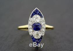 Antique Art Deco Blue Sapphire 1 Ct Diamond Engagement 14K White Gold Over Ring