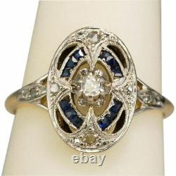 Antique Art Deco Blue Sapphire White Diamond Jewelry Vintage Ring 925 Silver