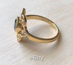 Antique Belle Epoque 18k Yellow Gold Natural Blue Sapphire and Diamond Ring