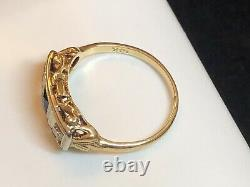 Antique Estate 14k Gold Blue Sapphire Diamond Ring Band Victorian Wedding