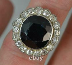 Antique Oval Blue Sapphire & 1.4ct Old Cut Diamond 18ct White Gold Cluster Ring