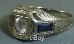 Art Deco 18kt white gold mens diamond ring with blue sapphire