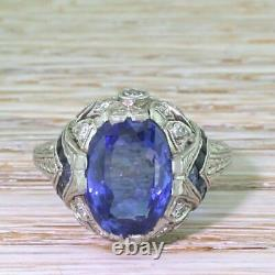 Art Deco 4.25Ct Blue Sapphire Oval Diamond Vintage Engagement Ring In 925 Silver