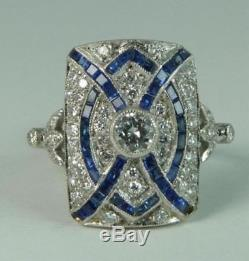 Art Deco Blue Sapphire Diamond Vintage Solid 14K White Gold Engagement Ring