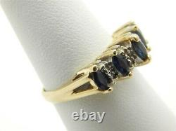 Beautiful 14K Gold Marquise Sapphire Band Ring WithDiamond Accents Size 6 1/4