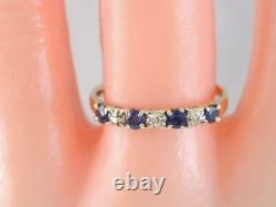 Beautiful 14k Solid Gold Diamond & Blue Sapphire Stacking Band Ring