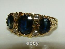 Beautiful, Antique Victorian 18 Ct Gold Ring With Blue Sapphire And Diamonds
