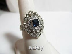 Beautiful Estate 18k Solid White Gold Ring With Natural Sapphire & Diamonds