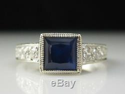 Blue Sapphire Diamond Ring 14K White Gold Vintage Inspired Engagement Jewelry