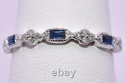 Blue Sapphire & Diamond Stackable Band Ring in 18K White Gold