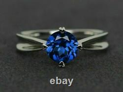 Bow Style Solitaire Engagement Wedding Ring 14K White Gold Over Round Sapphire