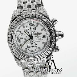 Breitling Galactic Chronograph II 44mm Fully Diamond Watch A13364 White Dial
