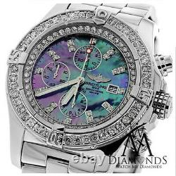 Breitling Super Avenger Black Mother Of Pearl A13370 Diamond Authentic Watch