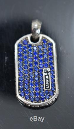 David Y 2.30Ct Blue Sapphire Pave Dog Tag Pendant 925 Sterling Silver
