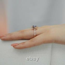 Delicated 2Ct Oval Cut Blue Sapphire Halo Engagement Ring 14K Rose Gold Finish