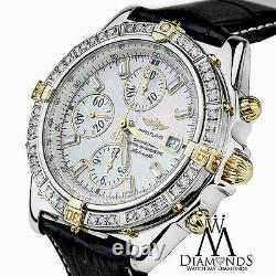 Diamond Breitling B13355 Windrider Evolution Mother Of Pearl Dial Leather Watch